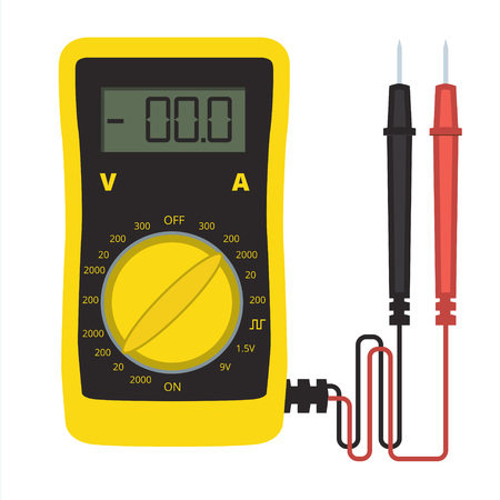 current: Digital multimeter vector icon. Electrical multitester sign or tester illustration. Voltage, current and resistance meter for electronic equipment and domestic appliances