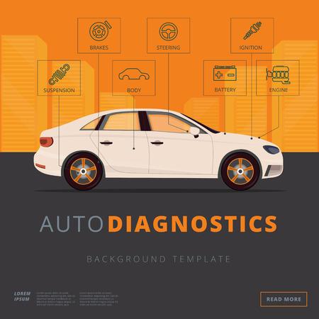 Car diagnostics background template. Auto inspection or garage repair service concept. Flat vector background. Vehicle appraisal web banner.