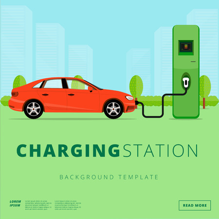 recharging: Electric car charging station concept. EV recharging point or EVSE. Plug-in vehicle getting energy from battery supply. Illustration