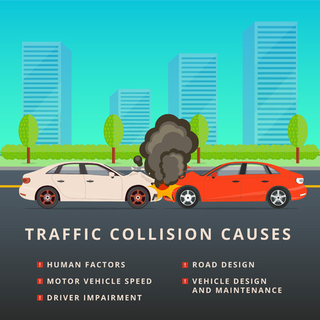 smashup: Traffic collision causes. Car crash vector illustration. Auto accident with two motor vehicles after head-on wreck. MVC background.
