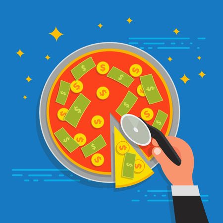 stockholder: Business shareholder concept in flat style. Vector illustation of businessman stockholder cutting off money pizza. Investment or share in company