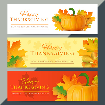 feasting: Set of happy thanksgiving day web banners. Autumn holiday vector background. Pumpkin with fall leaves decoration and text. Giving thanks social media website ad