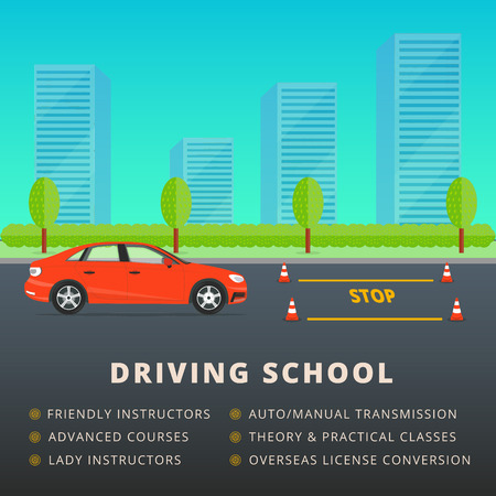 motor vehicle: Driving school web banner advertisement design. Car driver classes or lessons vector illustration. City skyline and park background with auto and training cones.