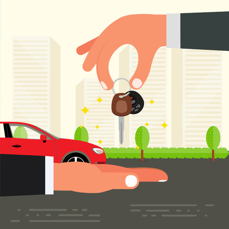sell car: Purchase, sell or buying of car  concept design. Seller hand holding car key and passing it to buyer. Successful deal or driving test exam vector illustration.