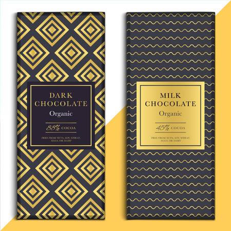 choco: Organic dark and milk chocolate bar design. Choco packaging vector mockup. Trendy luxury product branding template with label and geometric pattern