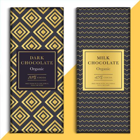 Organisch donker en melkchocolade bar design. Choco verpakking vector mockup. Trendy luxe product branding template met label en geometrisch patroon Vector Illustratie
