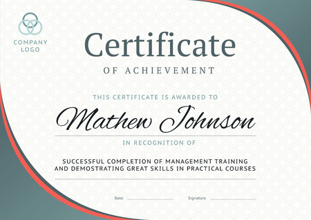 Certificate of achievement template design. Business diploma layout for training graduation or course completion. Vector background illustration Illustration