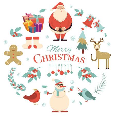 galleta de jengibre: elementos de diseño de fiesta Feliz Navidad. decoraciones de Navidad y caracteres. Santa, muñeco de nieve, ciervos, pájaros, galletas de jengibre, árbol, caja de regalo, calcetines, copo de nieve, baya del acebo, rama