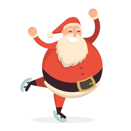 Santa Claus skating and dancing. Cute cartoon cheerful and smiling Father Frost character running on skates. Flat style vector illustration