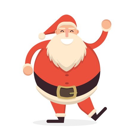 belt up: Santa Claus dancing and waving his hand in greeting pose. Cute cartoon cheerful and smiling Father Frost character. Flat style vector illustration Illustration