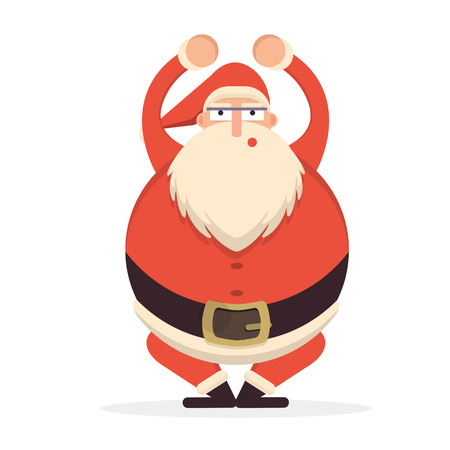 belt up: Santa Claus sqautting. Cute cartoon cheerful and smiling Father Frost character doing squats. Flat style vector illustration