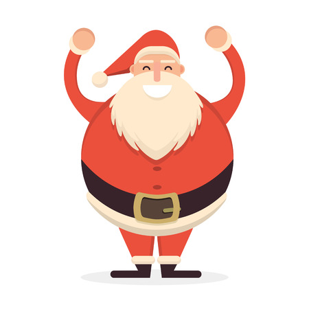 belt up: Santa Claus standing with his hands up. Cute cartoon cheerful and smiling Father Frost character raising arms. Flat style vector illustration Illustration