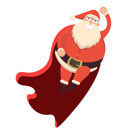 belt up: Santa Claus flying like superhero in red cape waving behind. Cute cartoon cheerful and smiling Father Frost character. Flat style vector illustration
