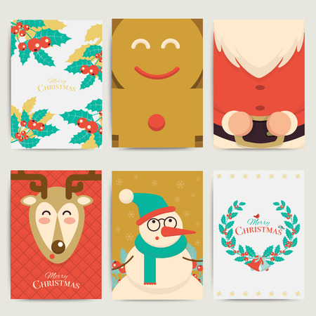 xmas card: Christmas greeting card templateset. Vector xmas invitation layout design. Santa, reindeer, snowman and cookie with holly elements background