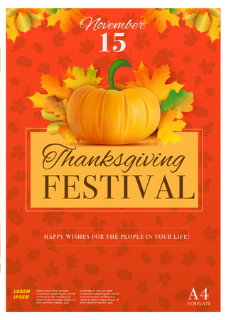 feasting: Happy thanksgiving day poster template in A4 size. Fall holiday vector background. Pumpkin with autumn leaves decoration layout. Giving thanks flyer or banner