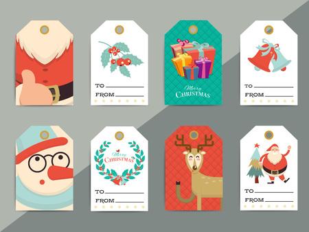 Christmas gift tags template set. Vector printable xmas box or letter tag labels design. Santa, reindeer, snowman and cookie characters badges or cards