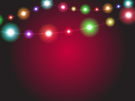 radiant: Bright garland lights glowing with various colors. Luminous radiant christmas holiday light decorations. Colorful xmas illumination background