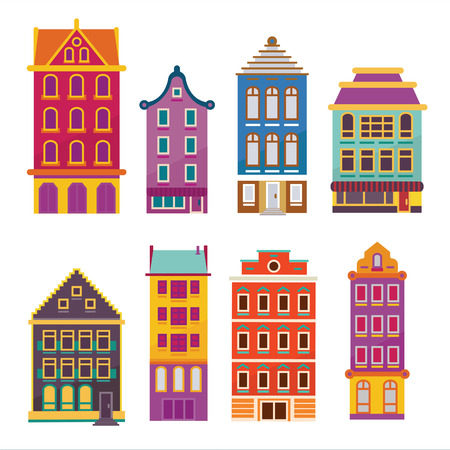 dwellings: Cute bright cartoon flat house set. Vector buildings facades. European style dutch and belgian like homes and dwellings. Illustration