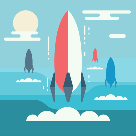 innovative concept: Startup concept minimalistic design. Rocket launch as metaphor of business start-up project, new venture or innovation, birth of idea or running innovative entrepreneurship