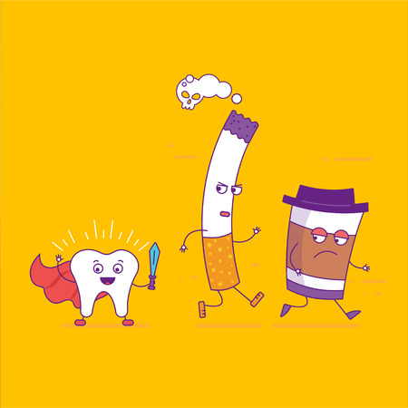 White tooth beats cigarette and paper coffee cup cartoon characters in flat line style. Bad habits, smoking and oral health, unhealthy lifestyle. Superhero tooth symbol. Vector illustration Illustration