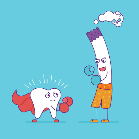 oral health: White tooth fighting or boxing with cigarette. Cartoon characters in flat line style. Bad habits, smoking and oral health, unhealthy lifestyle. Superhero tooth symbol. Vector illustration