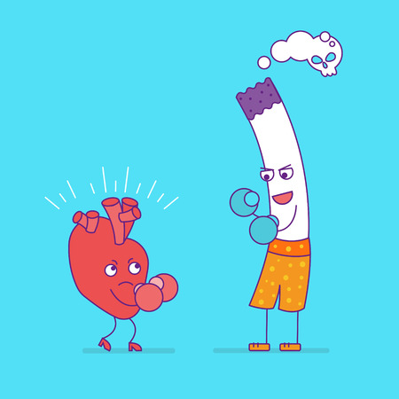 Smiling heart fighting or boxing with cigarette. Cartoon characters in flat style. Bad habits, smoking and cardiovascular health, unhealthy lifestyle. Happy heart symbol. Vector illustration