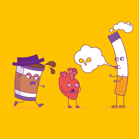 Smiling heart fights cigarette and paper coffee cup cartoon characters in flat style. Bad habits, smoking and cardiovascular health, unhealthy lifestyle. Happy heart symbol. Vector illustration