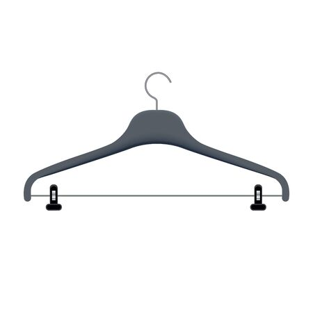 Clothes hanger vector illustration. Coat rack for hanging apparel with a hook on top. Plastic triangle coathanger with steel loop of wire. Ilustrace