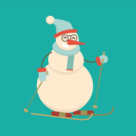 Christmas snowman skiing with sticks. Cute cartoon cheerful and smiling character standing on ski. Xmas Flat style vector illustration