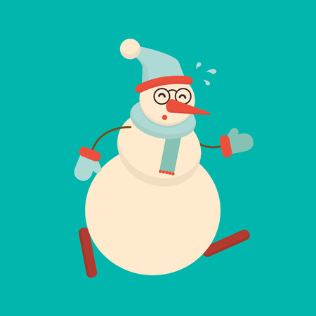 Christmas snowman running hard and getting tired. Cute cartoon cheerful and smiling snow man character in a hurry. Xmas holiday flat style vector illustration Illustration