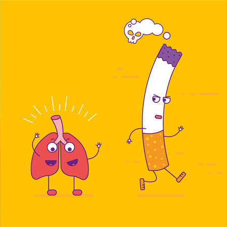 Healthy lungs beats cigarette cartoon character in flat line style. Bad habits, smoking and respiratory system health, unhealthy lifestyle. Organ of respiration symbol. Vector illustration