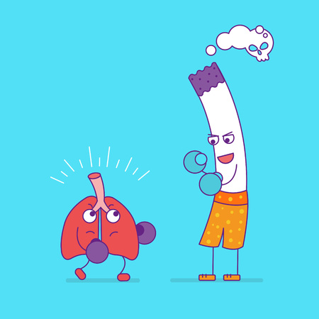 respiration: Healthy lungs boxing with cigarette cartoon character in flat line style. Bad habits, smoking and respiratory system health, unhealthy lifestyle. Organ of respiration symbol. Vector illustration