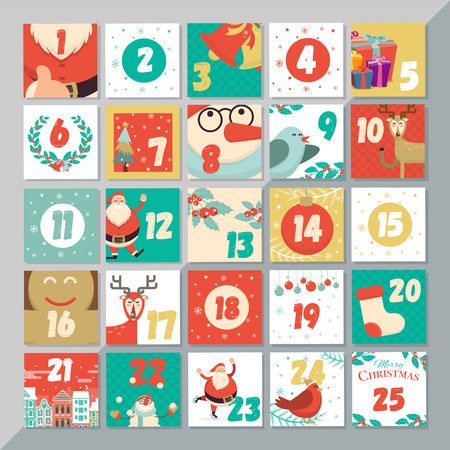 Christmas advent calendar template. Vector xmas greeting card layout design. Santa, reindeer, snowman, cookie, and holly elements background. Ilustração