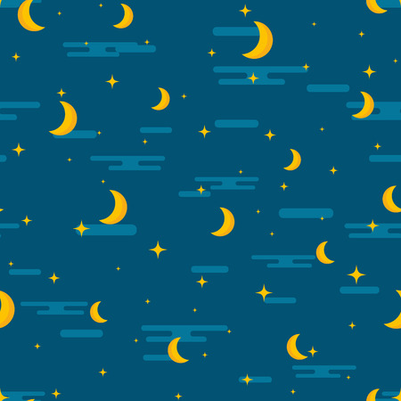 lullaby: Night sky seamless pattern design. Moon, stars and clouds repetitive print. Children or kids lullaby repeating background for textile, wrapping paper, clothes, pillow, etc. Baby cartoon vector illustration. Illustration