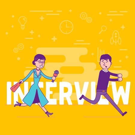 Woman reporter with microphone trying to get interview with young businessman. Female correspondent doing a hero piece with a man. Female journalist. Vector illustration concept.