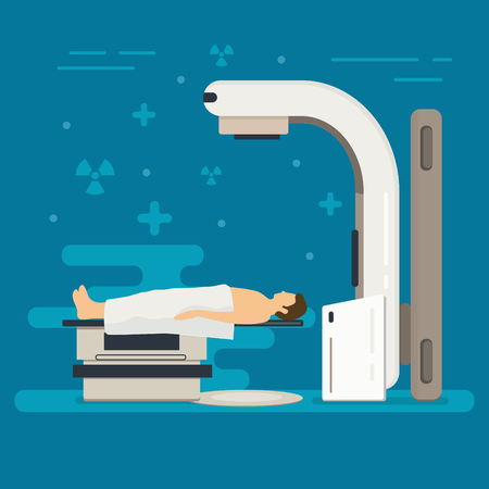 Concept de vecteur de radiothérapie. Le traitement du cancer avec la radiothérapie. Oncologie RT de tumeur cancéreuse. Thérapie médicale par faisceau de rayons X avec accélérateur linéaire. Contexte de la médecine. Vecteurs