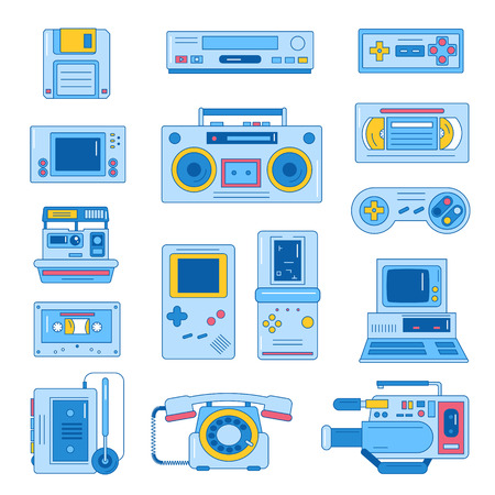 Retro gadgets from 90s in flat line style. Hipster old devices. Game and media tech things. Trendy vector web icon set.