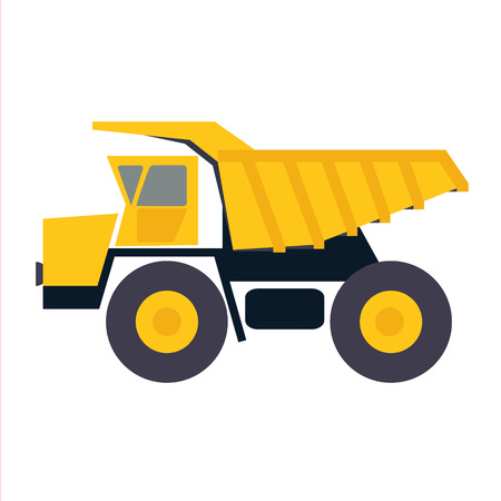 Haul or dump truck vector icon. Dumper or tipper symbol. Mining and construction machinery for transporting sand, gravel or dirt. Industrial lorry or tip truck sign. Ilustração