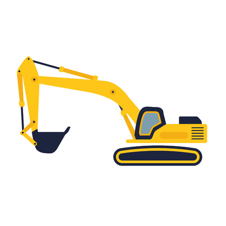 mine site: Hydraulic mining excavator vector icon. Heavy construction equipment symbol with boom, dipper and bucket. Construction machinery for digging sand, gravel or dirt. Industrial digger or trackhoe sign. Illustration