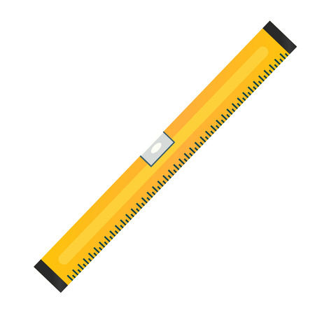 spirit level: Spirit or bubble level vector icon. Carpenter or bricklayer instrument for leveling planes with ruler. Construction equipment symbol or sign. Illustration
