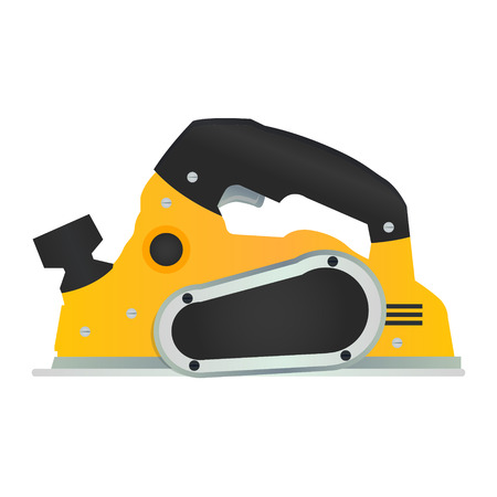 wood planer: Electric hand plane vector icon. Power wood planer symbol. Woodworking machinery tool or instrument sign. Carpentry handheld equipment. Illustration