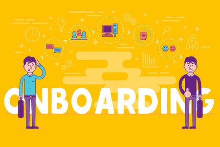 Medewerkers onboarding concept. HR-managers die nieuwe werknemers aannemen voor een baan. Werven van personeel of personeel in hun bedrijf. Organisatie socialisatie vectorillustratie.