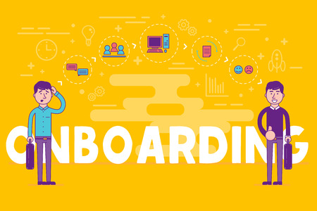 Mitarbeiter Onboarding-Konzept. HR-Manager die Einstellung neuer Arbeitnehmer für Arbeit. Rekrutierung von Personal oder Personal in ihre Business-Unternehmen. Organisatorische Sozialisation Vektor-Illustration.