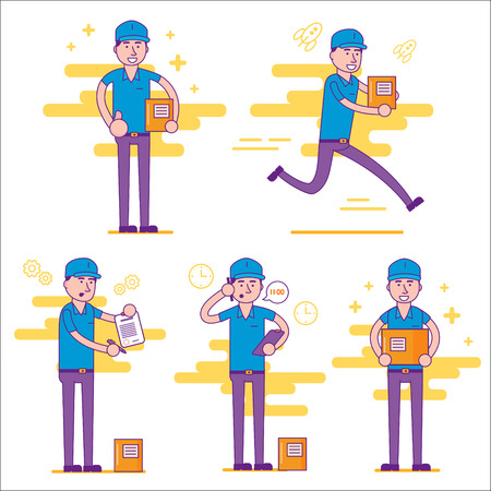 Set of logistics  courier or delivery man in various positions. Postman or post office worker delivering mailboxes. Vector flat cartoon illustration. Vettoriali