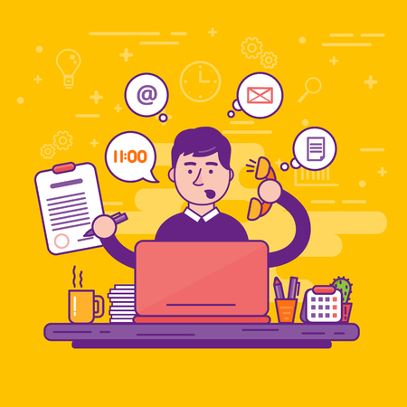 Man clerk or male personal assistant vector illustration. Young office manager or businessman multi-tasking. Business or company worker.