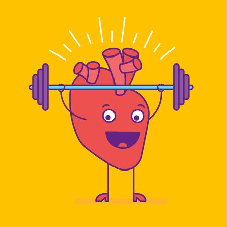 Happy smiling strong heart logotype. Cheerful cartoon character lifting barbell weight. Cardiovascular symbol or sign. Vector illustration
