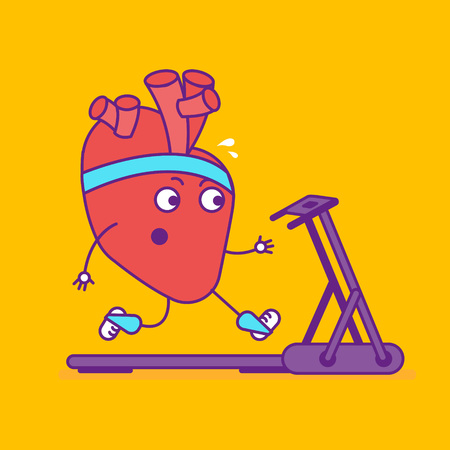 Happy smiling strong heart logotype. Cheerful cartoon character jogging on treadmill. Happy cardiovascular symbol or sign. Vector illustration Illustration