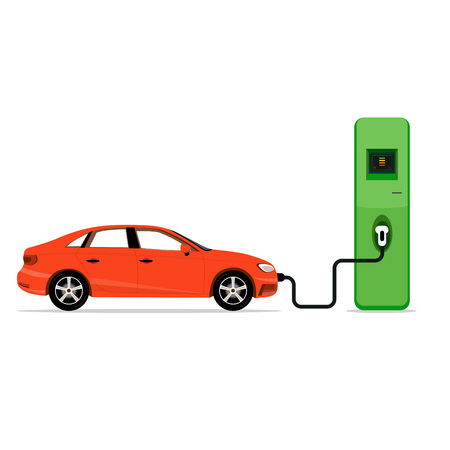 Electric car charging station concept. EV recharging point or EVSE. Plug-in vehicle getting energy from battery supply. Illustration