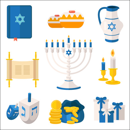 dedication: Holiday of Hanukkah vector elements collection. Jewish symbols for celebration of Chanukah or Festival of Lights. Feast of Dedication icons and festivity items, including menorah candelabrum, dreidel, latkes, tora, etc. Illustration