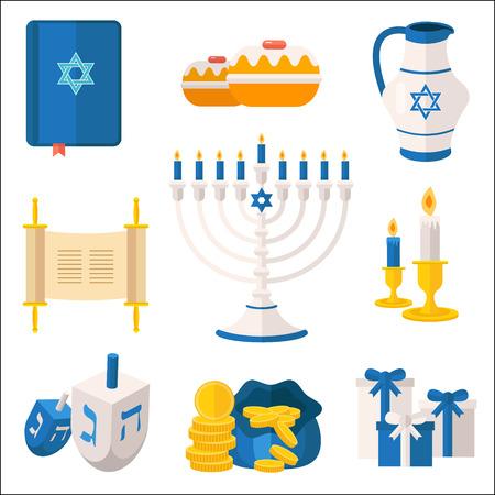 Holiday of Hanukkah vector elements collection. Jewish symbols for celebration of Chanukah or Festival of Lights. Feast of Dedication icons and festivity items, including menorah candelabrum, dreidel, latkes, tora, etc. Illustration